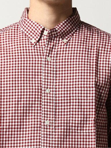 Twill Gingham Buttondown Shirt 11-11-3448-139: Burgundy