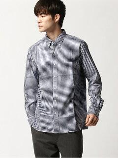 Twill Gingham Buttondown Shirt 11-11-3448-139: Navy