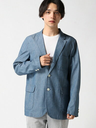 Chambray Sack Sport Coat 11-16-1323-139: Blue