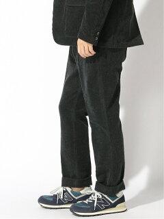 Plain-Front Corduroy Trousers 11-21-1005-424: Charcoal