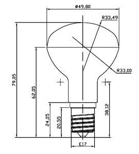 LEDミニレフ電球口金E17LB3017A暖色2650K