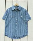CAMCOShortSleeveChambrayWorkShirtsBlueRailroadStripeカムコシャンブレーワークシャツ/半袖ブルーレイルロードストライプ