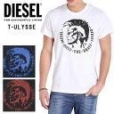 ディーゼル メンズ DIESEL Tシャツ ロゴ トップス T-ULYSSE モヒカン ブレイブマン 定番ブラック 黒 白 ホワイト NAVY ネイビー RED レッド 赤
