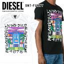 ディーゼル メンズ DIESEL Tシャツ ロゴ トップスSNT-FUNNY 00SYRE 0CAOX WHITE 白 ホワイト ブラック 黒