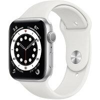 【国内正規品】Apple Watch Series 6本体(GPSモデル)アップル-44mmシルバーアルミニウムケースとホワイトスポーツバンド M00D3J/A(クリスマス プレゼント)