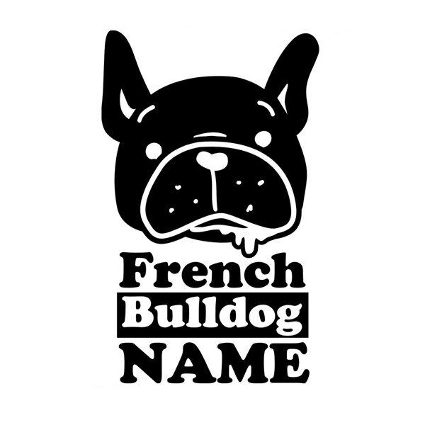 フレンチブルドッグ  車に貼れるカッティングステッカーフレブルと乗る車にかわいいカーステッカー♪ プレゼントにも最適、名入れができるブヒ・犬・雑貨・シール黒色