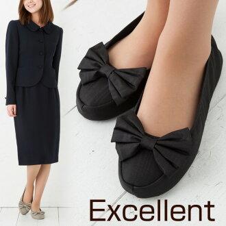モアレリボン ( superficial wear ) excellent mobile slippers fashionable black and beige portable slippers with porch room shoes fs3gm