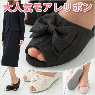 モアレリボン heel slippers Ribbon version of cute!