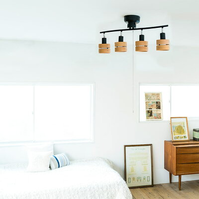シーリングライト 4灯 LED対応 スポットライト レダ 天井照明 照明器具 6畳 和室 和風 北欧 寝室 リビング用 居間用 ダイニング用 食卓用 シーリング 木枠 電気 おしゃれ ペンダントライト 間接照明 子供部屋 テレワーク・・・ 画像2