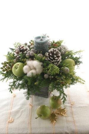 ■BeautifulBoyがお届けする【クリスマス限定商品】!キャンドルアレンジメントクリーミーホワイト