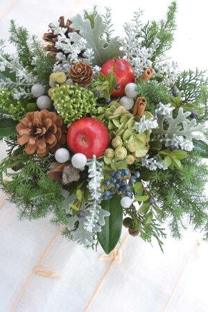 ■BeautifulBoyがお届けする【クリスマス限定商品】!クリスマス実ものアレンジノエル:クリーミーホワイト
