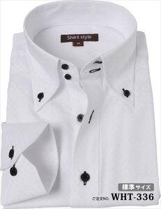 ワイシャツ おしゃれ メンズ ボタンダウン 白 長袖 ボタンダウンシャツ ドレスシャツ クールビズ 標準サイズ スマート カッターシャツ ビジネス ドゥエボットーニ 襟高ワイシャツ ノーネクタイ yシャツ ビジネスシャツ M 39-81 L 41-83 LL 43-85 3L 45-86/ WHT-336/