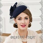 チュール付き立体花ヘッドドレス礼装帽子ウール素材トーク帽トークハットヘッドドレス結婚式披露宴パーティー二次会女子会お呼ばれカクテルハットミニハット上品ネイビー