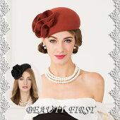 立体飾りつきベレー帽レディースウールハット礼装帽子帽子ヘッドドレスコンパクト帽ベレー帽女子会お呼ばれ上品お出掛け結婚式披露宴二次会パーティーデイリーシンプル赤レッドブラック黒
