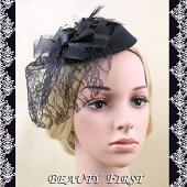 ローズレースリボンヘッドドレス黒礼装帽子カクテル帽トーク帽結婚式披露宴パーティー二次会女子会お呼ばれ冠婚葬祭花チュール