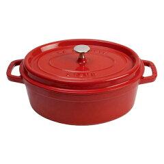 【ストウブ】ストウブピコ・ココットオーバル37cmチェリ—40509-876【キッチン用品:調理用具・器具:鉄鍋:IH/ガス両方対応】