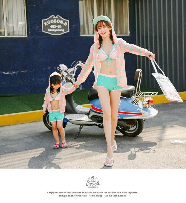 水着親子ペアルック6点セット送料無料ママリボンキッズおそろい可愛いおしゃれ女の子110120130140mlxlパーカーショートパンツビキニカバーアップレディース体型カバーMLXLあす楽対応