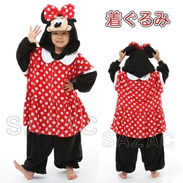 SAZAC(サザック) フリース着ぐるみ ミニー 子供用 110 ハロウィン 衣装 子供 仮装衣装 コスプレ コスチューム キッズ キャラクター ディズニー 公式 正規ライセンス品 パジャマ かわいい 可愛い