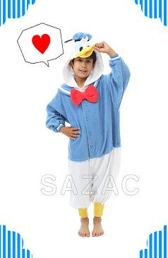 SAZAC(サザック) フリース着ぐるみ ドナルドダック 子供用 110 ハロウィン 衣装 子供 仮装衣装 コスプレ コスチューム 子ども用 キッズ ドナルド ディズニー 公式 正規ライセンス品 パジャマ かわいい 可愛い