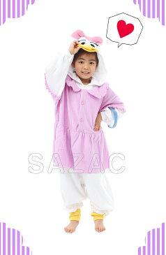 サザック フリース着ぐるみ 子供用 デイジーダック キッズ 110サイズ ディズニー Disney DAISY DUCK なりきり きぐるみ デイジー パジャマ ハロウィン 衣装 コスプレ 着ぐるみ KTI-131F