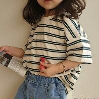 ボーダーゆったり半袖Tシャツ韓国子供服ナチュラル韓国子供服キッズ男の子女の子子供カットソー無地シンプルトップス