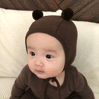 くまさん帽子くま耳耳くま帽子赤ちゃん冬新生児出産祝いベビーナチュラル赤ちゃん韓国子供服韓国ベビー服シンプル