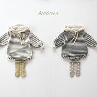ボーダーロンパースベビーナチュラル韓国子供服男の子女の子韓国ベビー服兄弟兄妹お揃いロンパース7080出産祝い