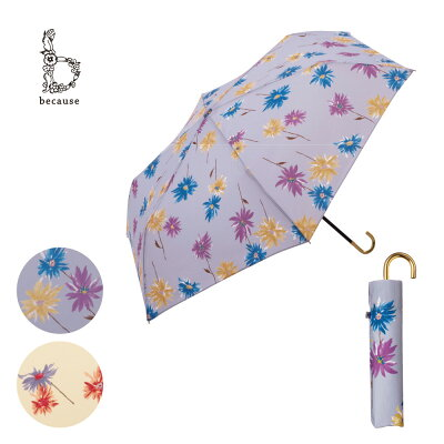 【because公式】アクアレールフローラミニ【折りたたみ傘/雨傘/UVカット/レディース/通勤/通学/ビコーズ】