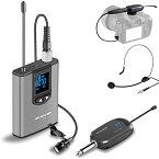 Alvoxcon ワイヤレスマイク UHF 最新版 ピンマイク ワイヤレス ヘッドセットマイク 高音質 クリップマイク ハンズフリーマイク 無線