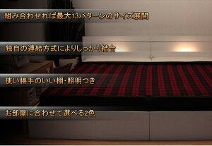 棚照明付ラインデザインベッドWK280(D+D)二つ折りボンネルコイルマットレス付ダークブラウン285-56-WK280(D+D)(10874B)【】