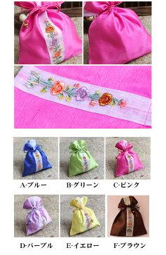 韓国雑貨 韓国伝統 アクセサリー シルク花柄巾着袋 韓国伝統の模様を付けた巾着です 花の刺繍がとてもカワイイです 韓国のお土産にもピッタリ 母の日 ギフト