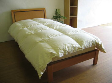 マンション専用国産薄めのベッド用羽毛布団-シングルサイズ-150x210cm