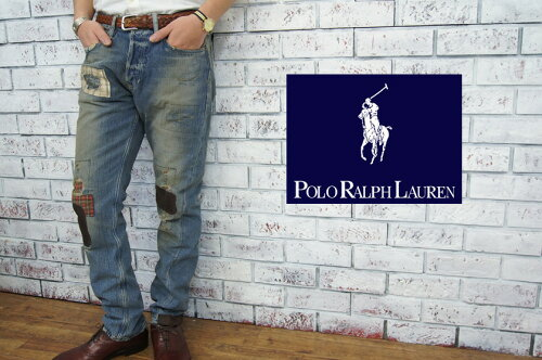 """POLO by Ralph Lauren ラルフローレン リペアパッチ カスタム スリム ジーンズ""""BOBBY"""" あす..."""