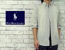 POLOby Ralph Lauren ラルフローレン CUSTOM FIT ヒッコリー ストライプ BD シャツ ■