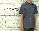 【J.CREW】ジェイクルー シャンブレ S/S マチ付き ワーク シャツ