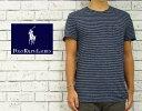 POLO by Ralph Lauren ラルフローレン リネン×コットン インディゴ ボーダー ポケット Tシャツ ■