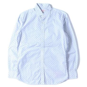 HAMILTON 1883 (ハミルトン 1883) ワイドカラー小紋柄ストライプコットンボタンシャツ アメリカ製 ライトブルー×ホワイト 15 【メンズ】【中古】【美品】【K2484】【あす楽☆対応可】