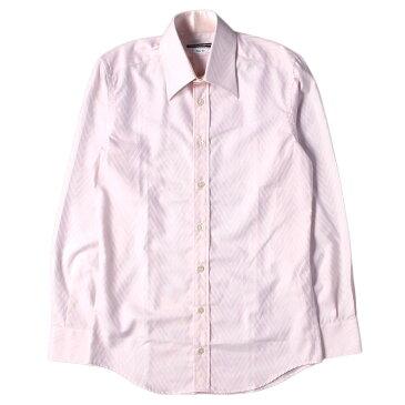 DOLCE&GABBANA (ドルチェ&ガッバーナ) シャツ ビッグ ヘリンボーン ドレスシャツ SLIM FIT ピンク 15 1/2(39) 【メンズ】【中古】【美品】【K2421】【あす楽☆対応可】