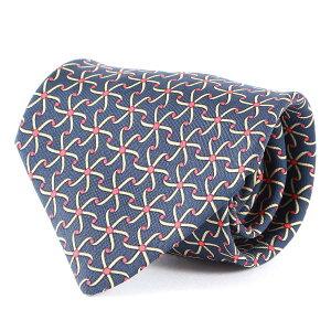 HERMES エルメス ネクタイ 総柄デザイン シルク ネクタイ フランス製 シルク100% ネイビー×ベージュ×レッド 【メンズ】【中古】【K2659】