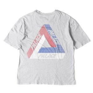 PALACE パレス Tシャツ トリコロール カラー ロゴ マーク Tシャツ ヘザーグレー L 【メンズ】【中古】【K2753】
