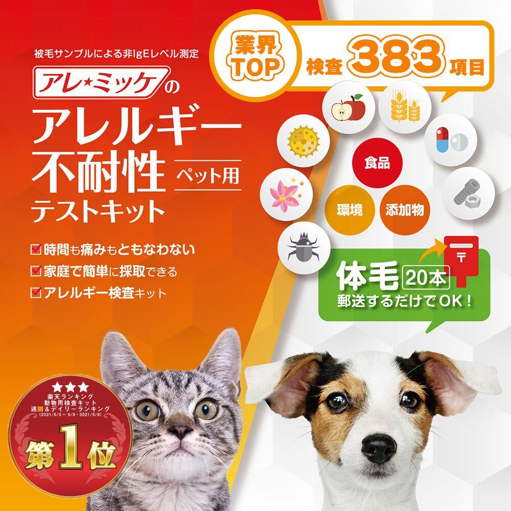 【373項目】【4匹用】アレルギー不耐性検査キット アレミッケ   犬 猫 ペット アレルギー検査 最短当日発送