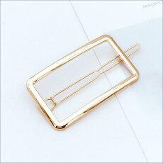 ヘアアクセサリー 2個セット バレッタ 可愛い ヘアピン 可愛い ゴールド ムーンxオーバル  スクエアxラウンド 送料無料