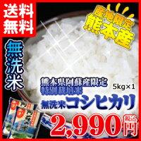 阿蘇産コシヒカリ特別栽培米・無洗米5kg1個