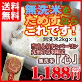 平成28年産 無洗米 2kg 送料無料 九州産 米 おためし無洗米 「心(こころ)」 送料込み 2キロ