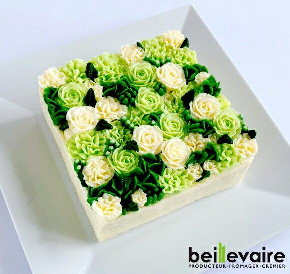 フラワーケーキ洋菓子バターケーキbeillevaire ガトーオブーケローズヴェルトゥ バタークリームケーキ花ケーキお誕生日ケー
