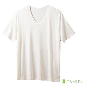 TAKEFU 竹布 NEW VネックTシャツ(メンズ)(開封後返品不可商品)ナファ ナファ生活研究所 敏感肌 抗菌 アトピー 無農薬 オーガニック 肌にやさしい 天然繊維 竹繊維 たけふ タケフ インナー メンズ 白T 半袖
