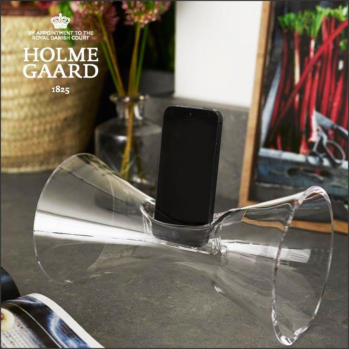 ホルムガード HOLMEGAARDURANIA Clear ウラニア クリア4343701 吹きガラスアコースティックサウンドアンプiPhon4,5,6 対応 アンプアンプ オーディオ【 送料無料 】