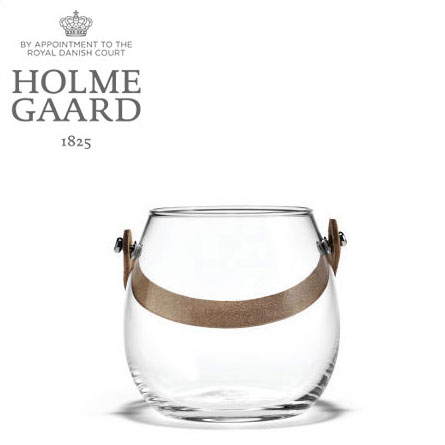 ガラス ポット ホルムガード HOLMEGAARD DESIGN WITH LIGHT Pot with leather handle clear H10cm (S)ガラス ポット4343516 吹きガラス北欧 雑貨 花瓶ギフト 贈り物 プレゼント ラッピング
