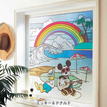 【Disney】ディズニーステンドグラス風窓飾りシートミッキー&フレンズ美女と野獣ふしぎの国のアリススティッチミッキー&ドナルドインテリア雑貨おしゃれグッズシールウォール壁ステッカーデザイン小物