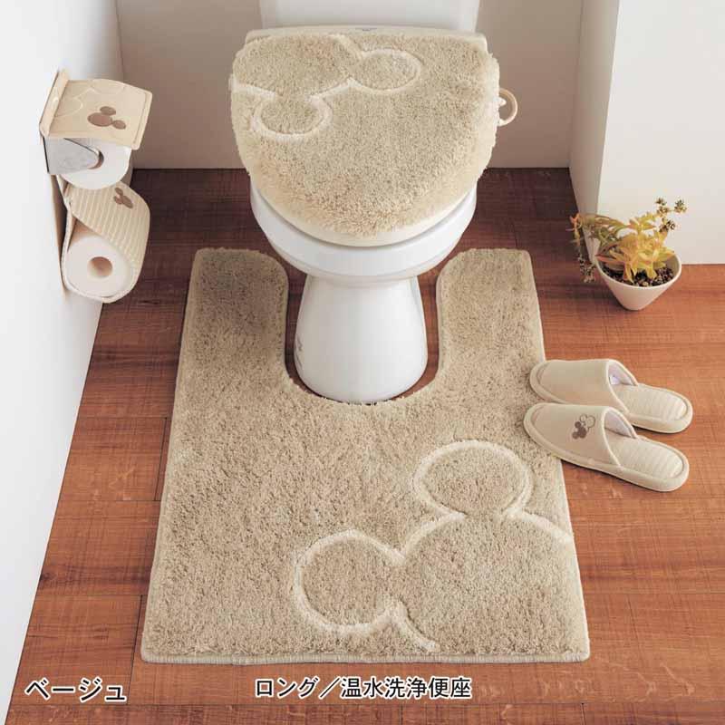 【Disney】ディズニー トイレのニオイに特化した消臭トイレマット・フタカバー(セット) 「ベージュ」 ◆ ロング/温水洗浄便座(新) ◆ ◇ トイレ 便所 お手洗い おしゃれ   ◇